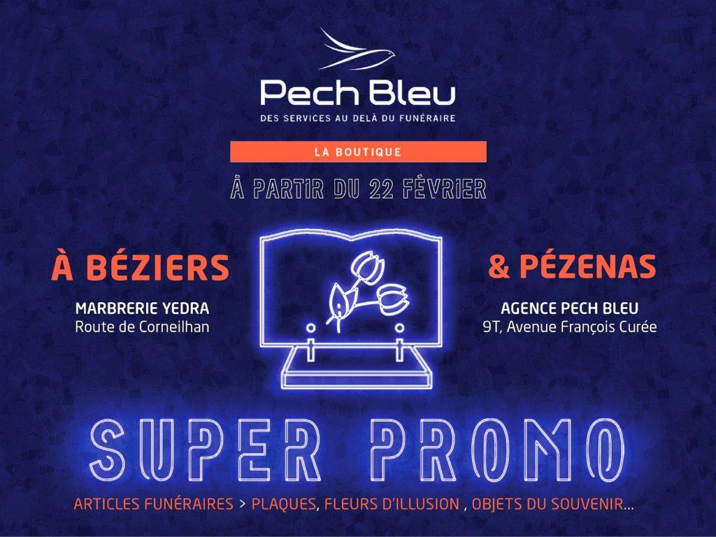 Pech Bleu super promo d'articles funéraires dans les boutiques Marbrerie Yedra à Béziers et à Pézenas