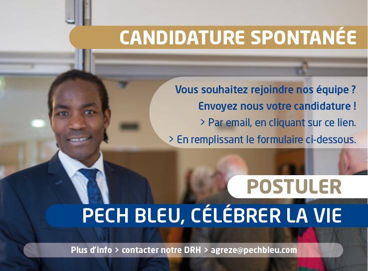 Offre d'emploi - Pech Bleu recrute ! Faite-nous parvenir votre candidature spontanée - Béziers (34) & dans l'Hérault (Lodève -Servian- Pézenas, etc.) - Contrats à Temps plein, temps partiel, CDI, CDD, Interim